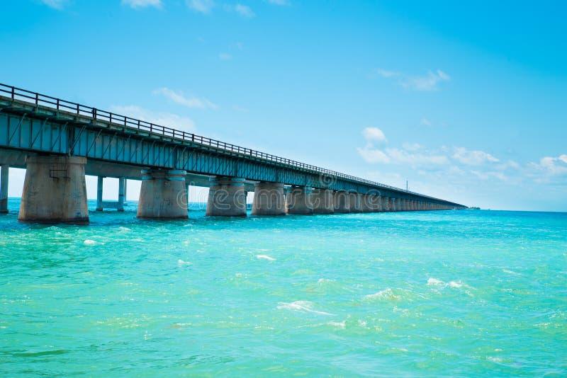 7 Mile Bridge Florida. View of the old Seven Mile Bridge along the Florida Keys stock photography