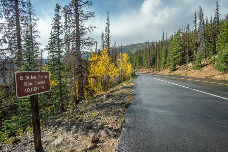2 Mile high road in the Rocky Mountain National Park. Visiting Rocky Mountain National Park, Colorado in Late September, 2018 royalty free stock images