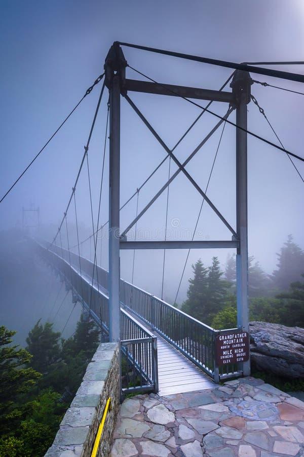 The Mile-High Swinging Bridge in fog, at Grandfather Mountain, N. Orth Carolina royalty free stock photos