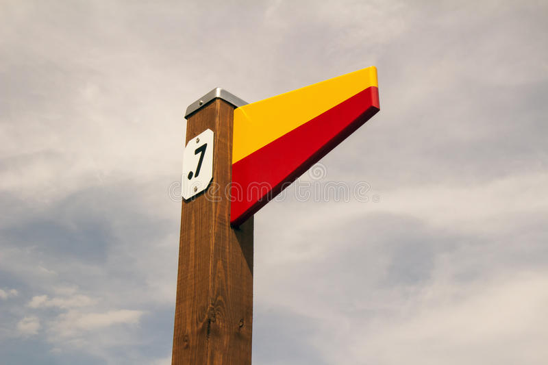 Mile Marker. A post with a mile marker on the walking path at the Waterfront royalty free stock photos