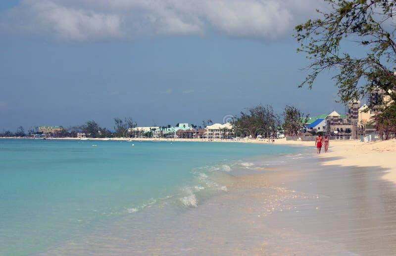 mile s för cayman för 7 strand storslagen royaltyfria foton