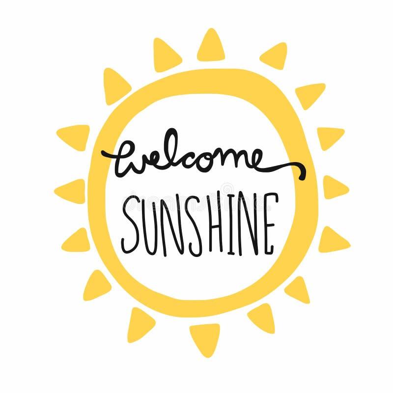 Mile widziany światła słonecznego słowa literowanie i słońce kształtujemy ilustrację ilustracji