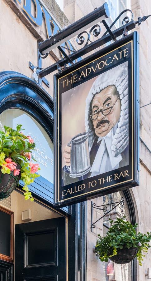 Mile widziany deska adwokata bar, Edynburg, Szkocja, UK zdjęcie royalty free