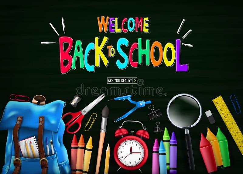 Mile widziany Kolorowy plecy szkoły wiadomość w Zielonego Chalkboard Odgórnym widoku z Błękitnym plecakiem royalty ilustracja