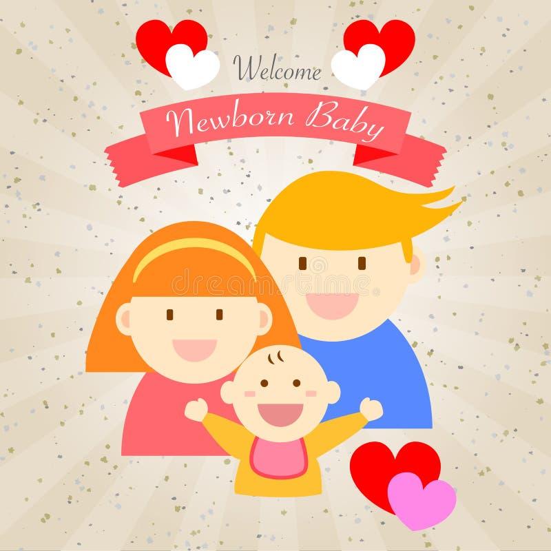 Mile widziany nowonarodzonego dziecka szczęśliwa rodzina royalty ilustracja