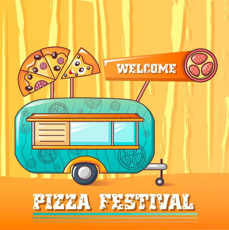 Mile widziany pizza festiwalu pojęcia tło, kreskówka styl ilustracji