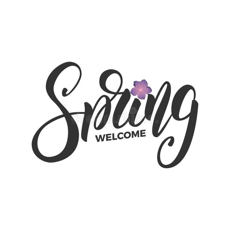 Mile widziany wiosna Pisma literowania wiosna i świezi kwiaty Karta dla sezonowego promo, sprzedaży, etc ilustracji