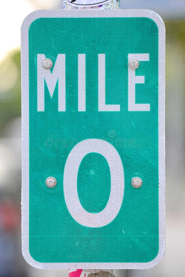 Free Mile Zero Sign In Key West, Florida Royalty Free Stock Photography - 28383547