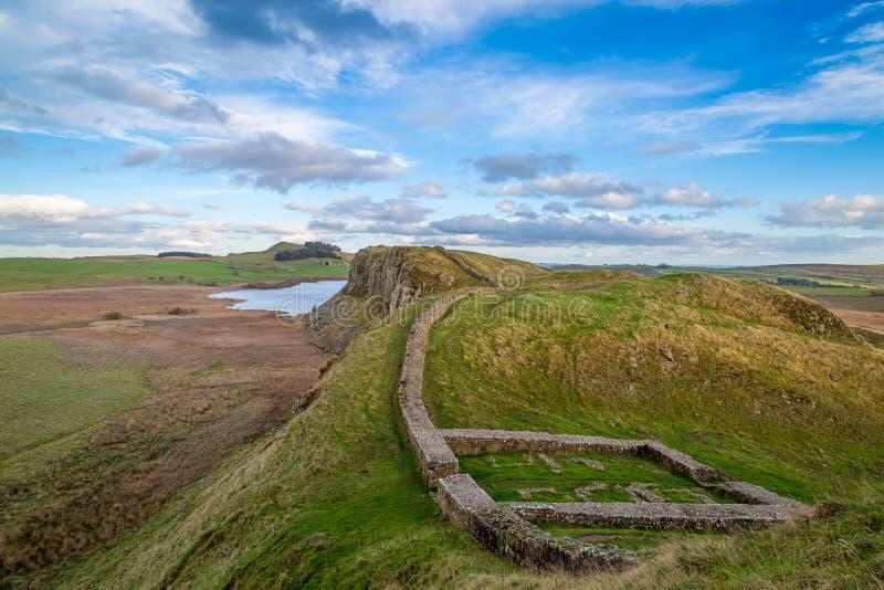 Milecastle 39, de Muur van Hadrian, Northumberland, Engeland royalty-vrije stock foto's