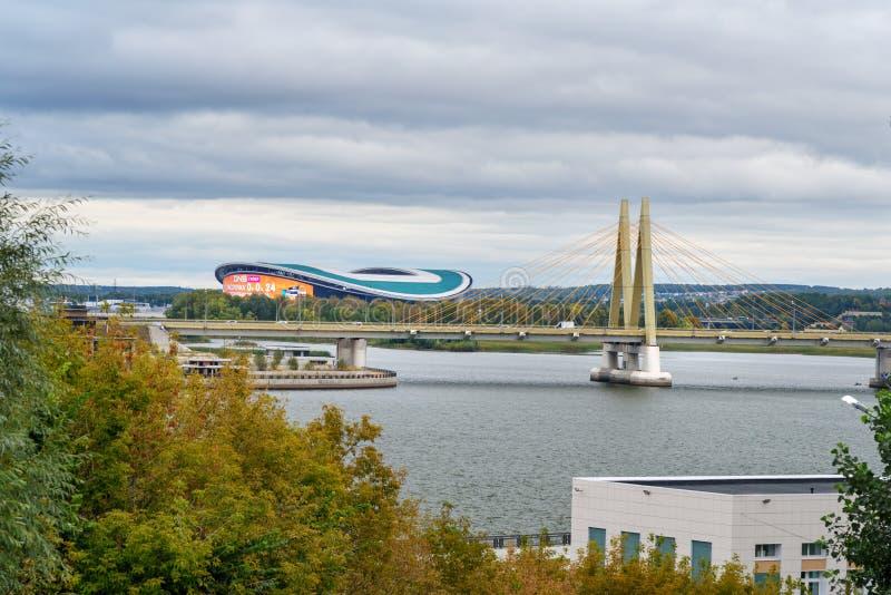 Milenium mosta i Kazan areny stadium kazan Rosja obraz royalty free