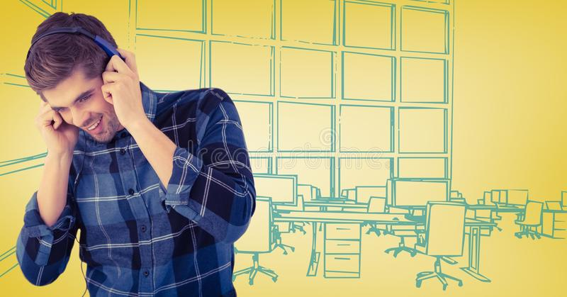 Milennial mężczyzna z hełmofonami przeciw żółtej i błękitnej ręce rysujący biuro ilustracja wektor