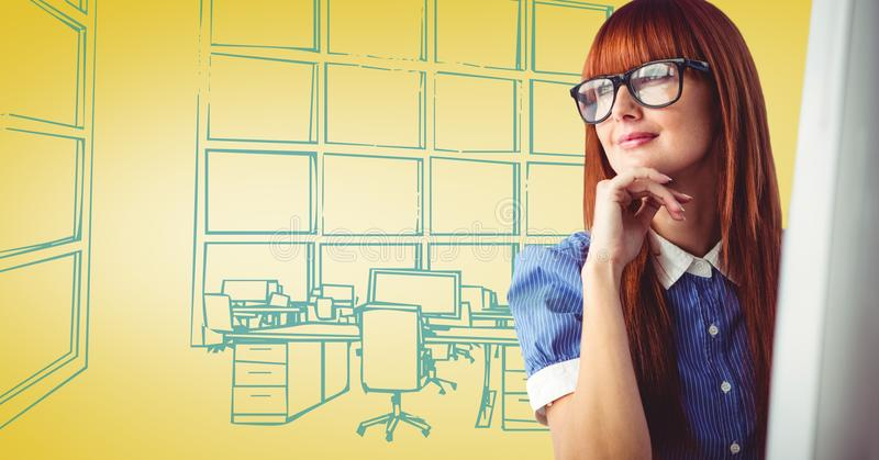 Milennial woman at computer against yellow and blue hand drawn office vector illustration