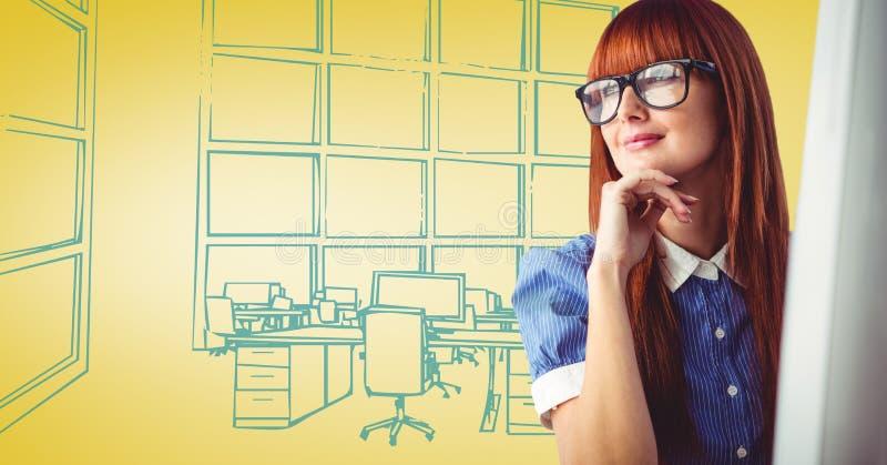 Milennialvrouw bij computer tegen geel en blauw hand getrokken bureau vector illustratie
