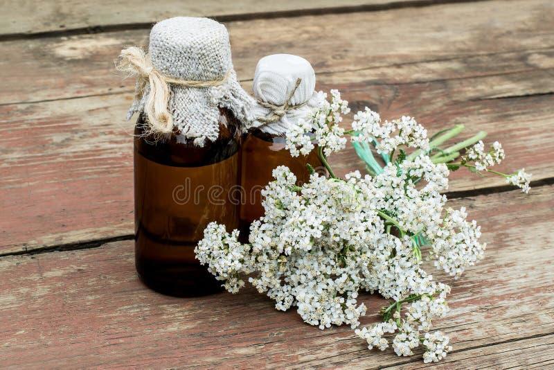 Milenrama (millefolium del achillea) y botella farmacéutica imágenes de archivo libres de regalías