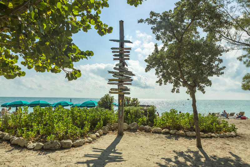 Milepost på stranden i Key West Florida arkivfoto