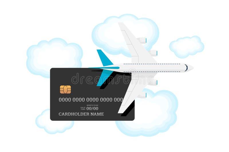 Miles bankkaart met vliegtuig aan de lucht met wolken Krediet- of debetplastic kaart met toeslag voor frequent luchtvervoer stock illustratie