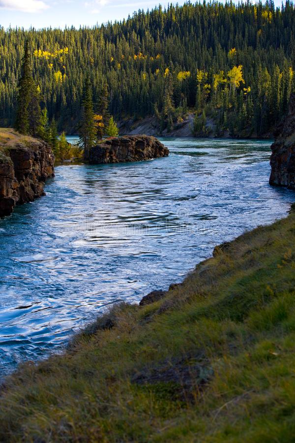 Miles Canyon, Yukon-Rivier, Whitehorse, Yukon-Gebieden, Canada royalty-vrije stock afbeelding