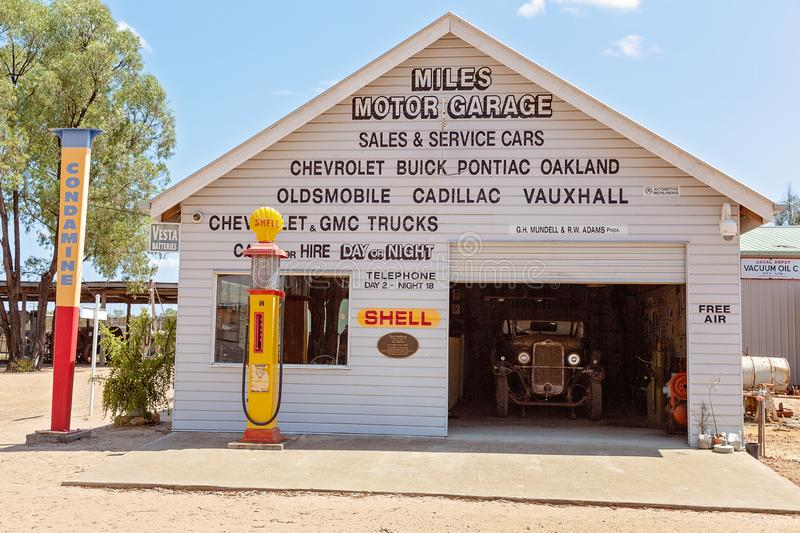 Mechanical Garage At Miles Museum And Historical Village. MILES, QUEENSLAND, AUSTRALIA - January 25th 2019: Miles Historical Village And Museum mechanical garage royalty free stock images