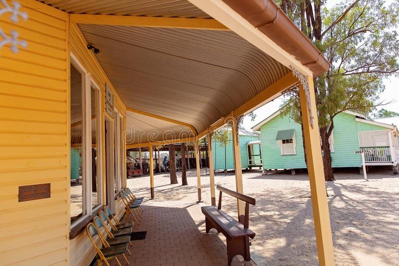Bank Verandah At Miles Museum And Historical Village. MILES, QUEENSLAND, AUSTRALIA - January 25th 2019: Miles Historical Village And Museum bank verandah royalty free stock photos