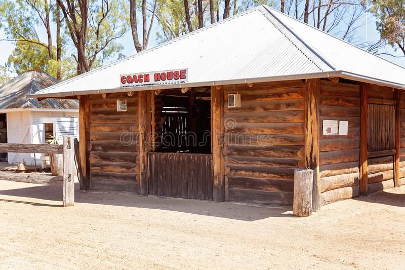 Coach House At Miles Museum And Historical Village. MILES, QUEENSLAND, AUSTRALIA - January 25th 2019: Miles Historical Village And Museum coach house stock photos