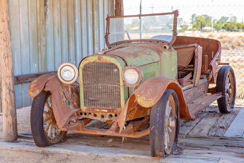 Rusted Vintage Car At Miles Museum And Historical Village. MILES, QUEENSLAND, AUSTRALIA - January 25th 2019: Miles Historical Village And Museum vintage car stock image