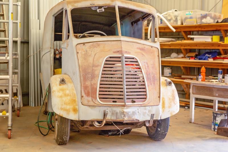 Rusted Vintage Car At Miles Museum And Historical Village. MILES, QUEENSLAND, AUSTRALIA - January 25th 2019: Miles Historical Village And Museum vintage car royalty free stock photo