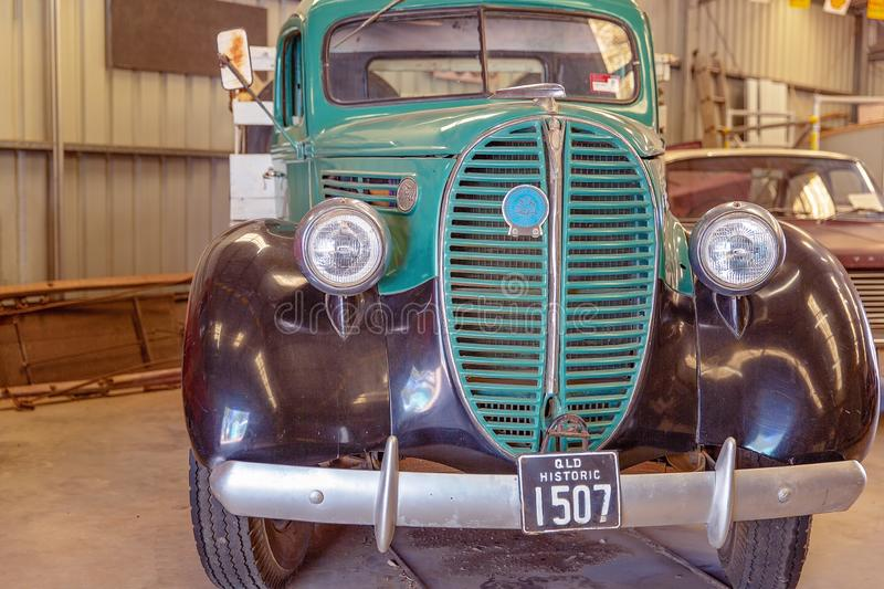 Vintage Car At Miles Museum And Historical Village. MILES, QUEENSLAND, AUSTRALIA - January 25th 2019: Miles Historical Village And Museum vintage car stock photo