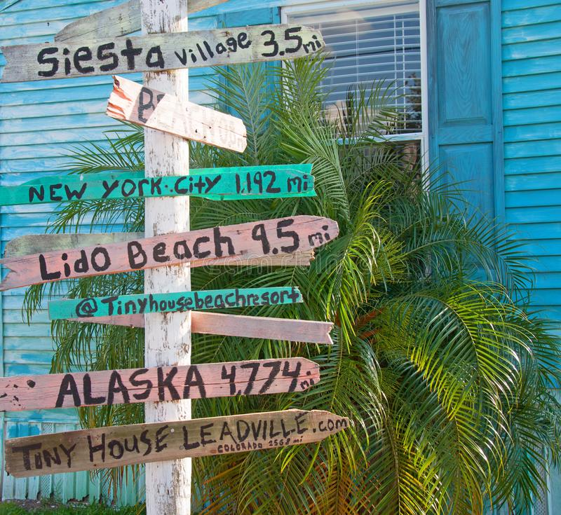 Miles from the Snow. Photograph of a milepost displaying mileage from this point in southwestern Florida to spots around the United States stock photo