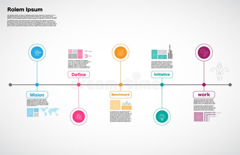 Milestone Company, vector de Infographic, plantilla del diseño del mapa itinerario, stock de ilustración