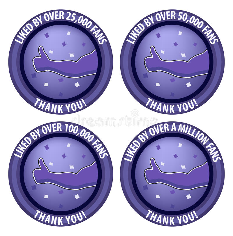 Milestone Likes Social Media Fan Page Badge Illustration stock photography