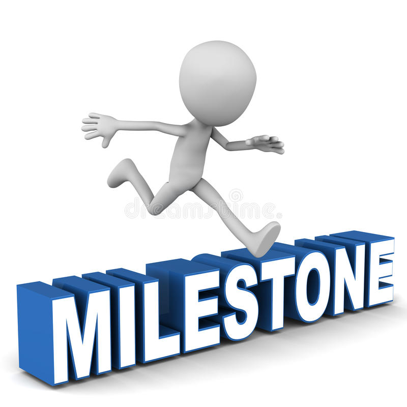 Milestone. Little man reach and jump over milestone word, reach way-point or objective milestone concept vector illustration