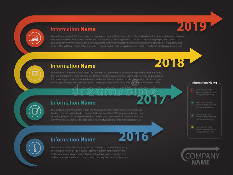 Milestone and timeline for business presentation and slide show royalty free illustration