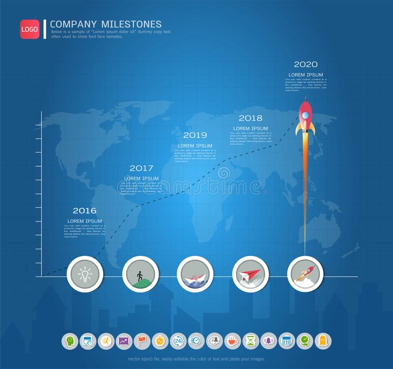 Milestone timeline infographic design. Milestone timeline infographic design, Road map or strategic plan to define company values, Can be used milestones for royalty free illustration