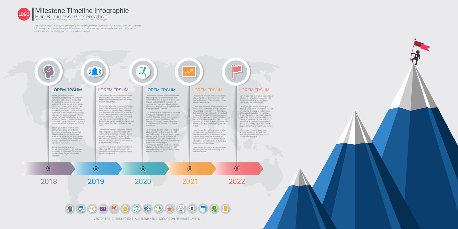 Milestone timeline infographic design. Milestone timeline infographic design, Road map or strategic plan to define company values, Can be used milestones for stock illustration