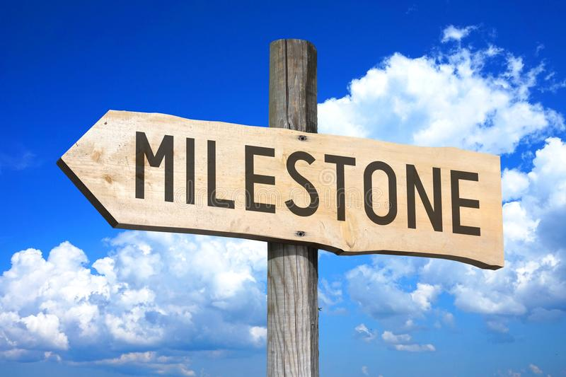 Milestone - wooden signpost. Wooden signpost with one arrow - `Milestone`, sky with clouds in a background vector illustration