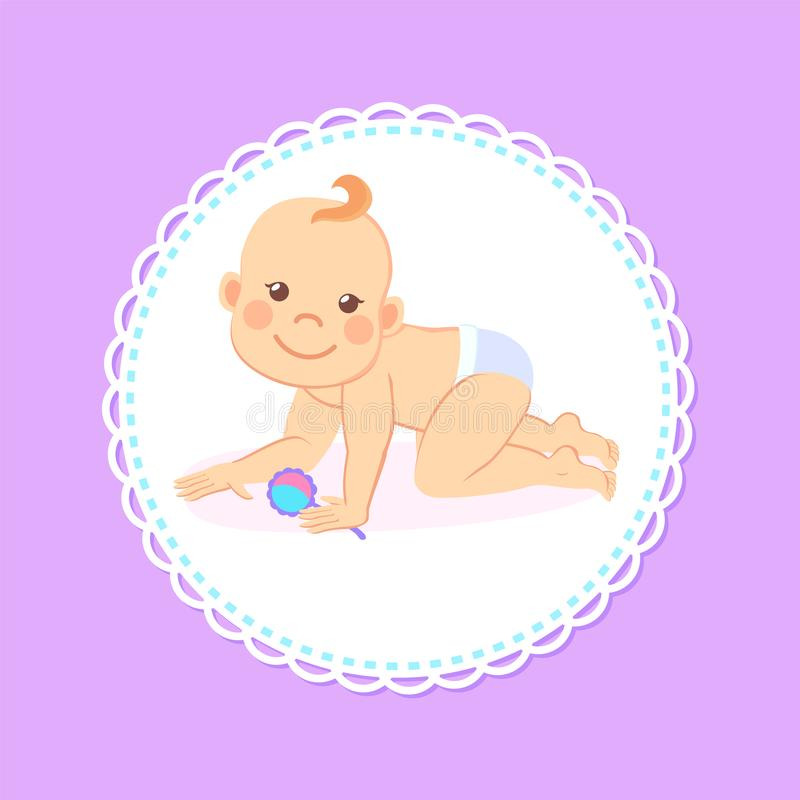 Milestones Baby of Six Month Standing on Knees. Milestones baby of six or seven month standing on knees with rattle in hands isolated infant in diaper. Vector royalty free illustration