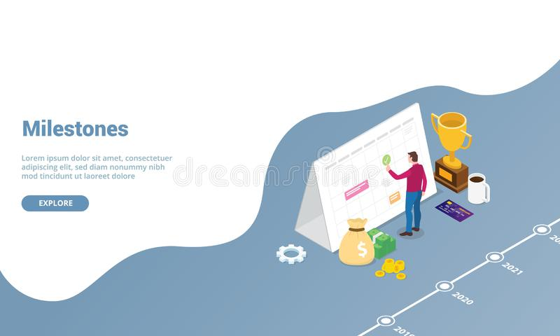 Milestones marks for personal business concept for website template or landing homepage with isometric modern style - vector. Illustration vector illustration