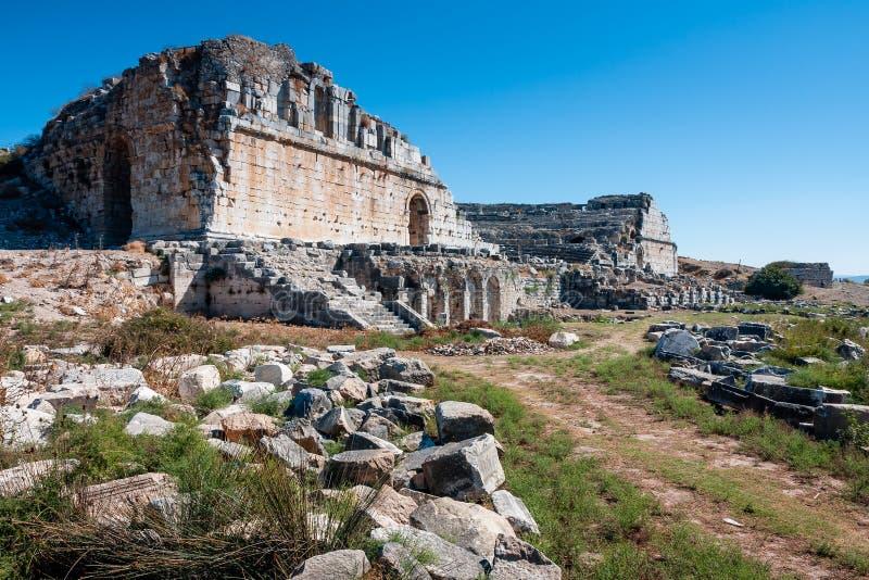 Download Miletus, Turkije, Oude Theaterruïnes Stock Foto - Afbeelding bestaande uit geschiedenis, rotsen: 54077660