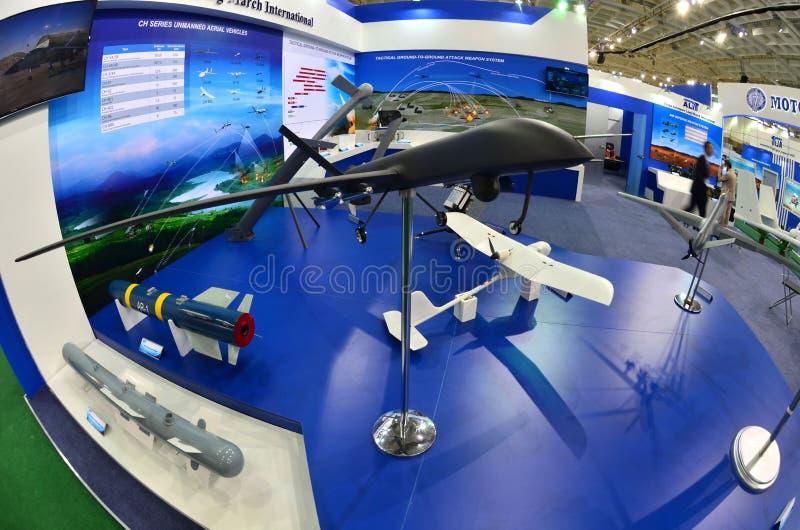 MILEX międzynarodowa wystawa ręki i militarny wyposażenie: UAV Porcelanowy Kosmiczny marzec fotografia stock