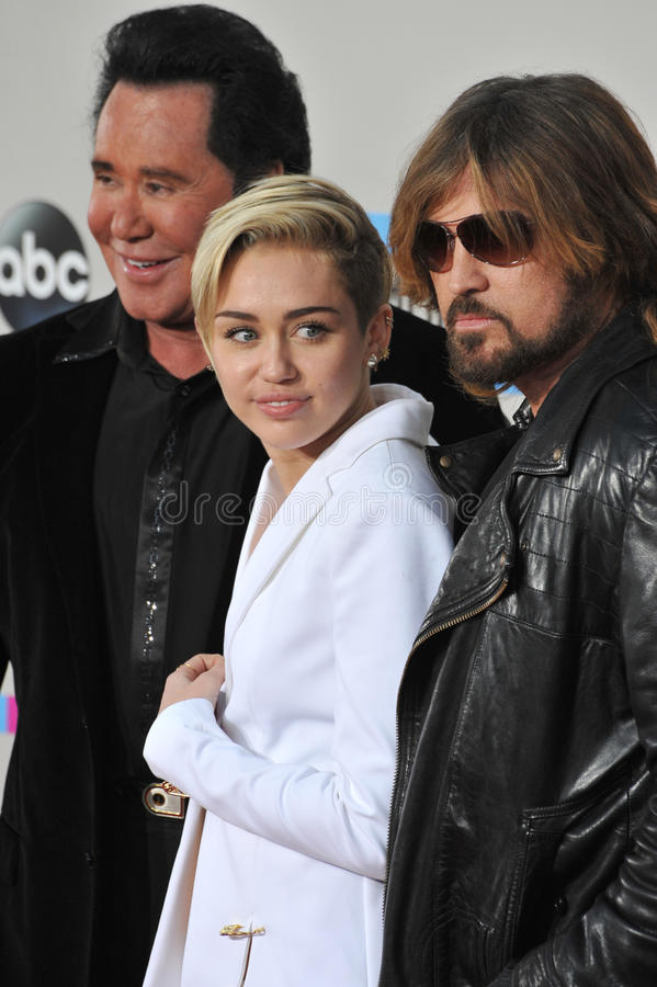 Miley Cyrus & Billy Ray Cyrus & Wayne Newton royalty-vrije stock afbeelding
