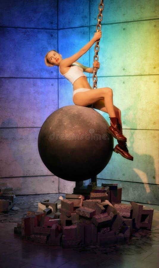 Miley Cyrus Rujnuje piłkę obrazy stock