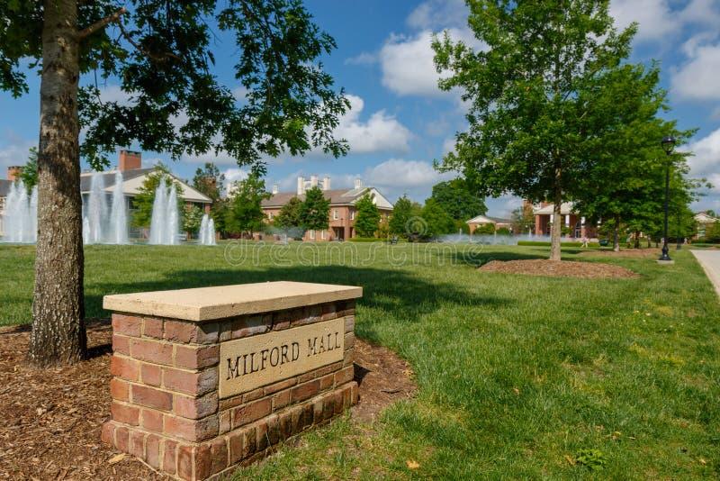 Milford Mall at Furman University. GREENVILLE, SC, USA - May 2: Milford Mall at Furman University on May 2, 2019 in Greenville, South Carolina stock photo