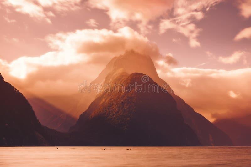 Milford Sound峰顶风景看法在日落,新西兰的 免版税库存图片