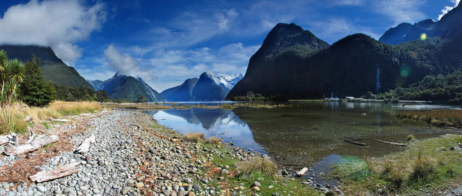 Milford sound. Panoramic view of Milford sound, New Zealand royalty free stock image