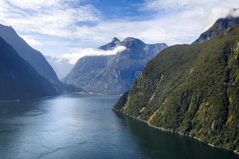 Milford Sound. Dramatic aerial view of New Zealand's Milford Sound royalty free stock photo