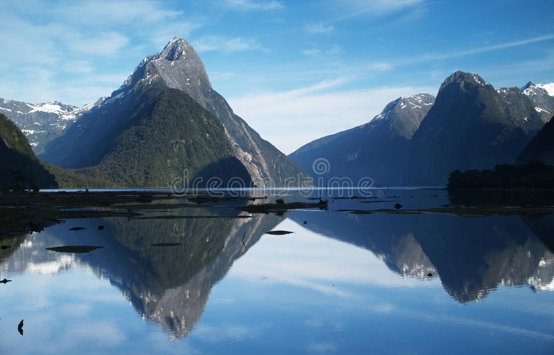 Milford Sound. In early sunny morning, Fiordland, New Zealand stock photography
