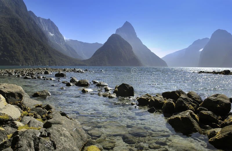Milford Sound - New Zealand. Mitre Peak at Milford Sound on the South Island of New Zealand royalty free stock photography