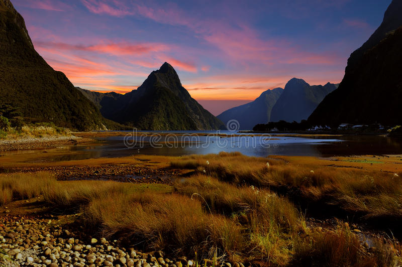 Milford sound, New Zealand. Milford Sound at sunset time, New Zealand stock photography