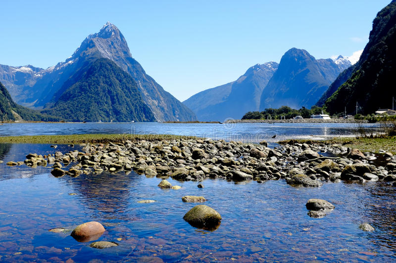 Milford Sound, New Zealand. Beautiful Day at Milford Sound, New Zealand stock photos