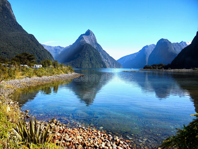 Milford Sound, New Zealand. Milford Sound Cruise. Iconic Mitre Peak. South Island, New Zealand royalty free stock images